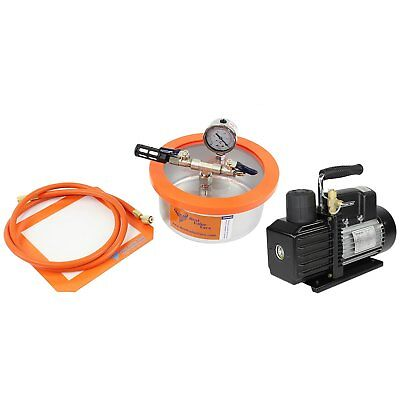 2QT Flat SS304 Best Value Vacs Vacuum Chamber and VE115 3CFM 1-Stage Pump Kit