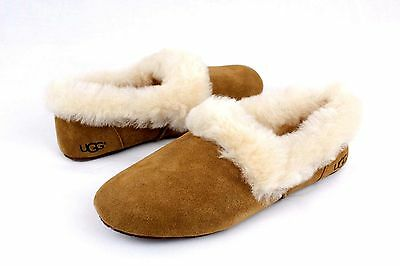f82c4a21b27 UGG KENDYL FULLY Lined Sheepskin Collar Slippers Chestnut Size 8 Us