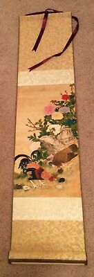 SILK Scroll ASIAN ART Artwork with Nature Farm Scene- Rooster Cock Hen Chicks