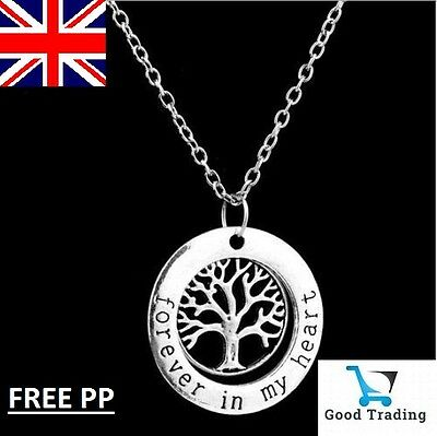 Forever in My Heart 925 Sterling Silver Tree of Life Necklace Pendant UK FREE PP