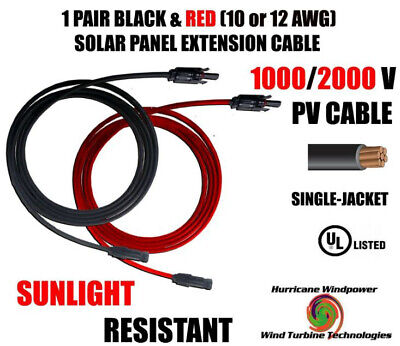 Black & Red 1 Pair Solar Panel Extension Pv Cable Mc4 Connector 10,12Awg