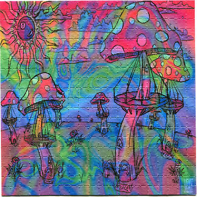 """Blotter Art Psychedelic Mushrooms Perforated 225 Squares Sheet 5.9"""" * 5.9"""""""