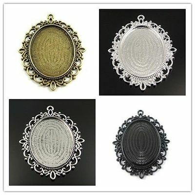 Vintage Style Bronze Tone Alloy  Lace Cameo Setting Tray Charms Pendants