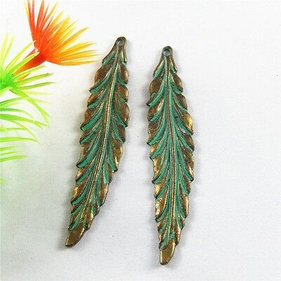 Zinc Alloy Jewelry Making Retro Bronze Green Leaf Pendant Charms 20pcs 52*11mm