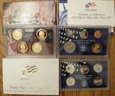 2007-S - US MINT 14 COIN PROOF SET - W/STATES & PRESIDENTS - COAs Sleeve & Boxes