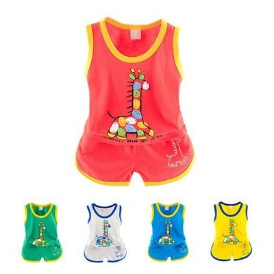 Toddler Baby Kid Summer Outfit Boy Girl Vest Shirt Tops+Pants Shorts Set Clothes