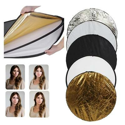 """110cm 5-in-1 Light Reflector Photo Photography Studio Multi Collapsible 43"""" Gold"""