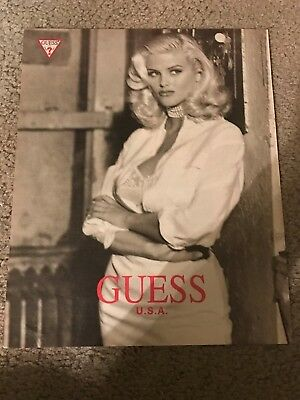 Vintage 1993 ANNA NICOLE SMITH GUESS Poster Print Ad #2 1990s RARE