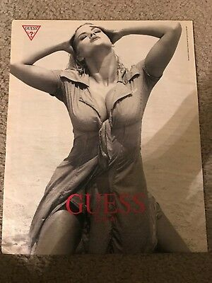 Vintage 1993 ANNA NICOLE SMITH GUESS Poster Print Ad 1990s RARE