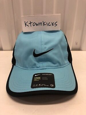 2963447399c47 Nike Featherlight Tennis Running Hat Vivid Sky Light Blue Black 679421 432