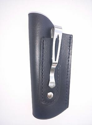 Medium to most Large Folding Knife Leather Sheath w/Belt Pocket Clip New
