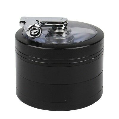 4 Piece Black Tobacco Herb Grinder Spice Herbal Zinc Alloy Smoke Crusher 55 mm
