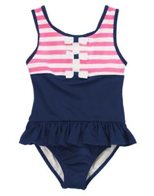NWT Gymboree Swimsuit Stripes bows Girls 4 Stripes and Anchor toddler