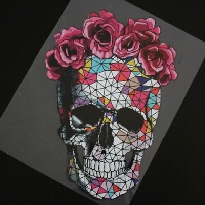 Flower Skull Patches Heat Transfer Stickers DIY Iron On Clothes Appliques Decor