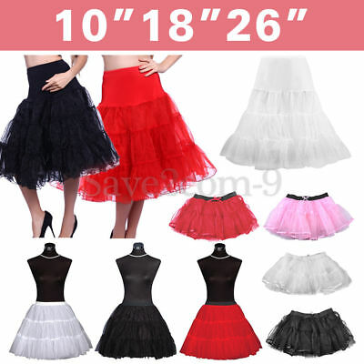 "Tutu Fancy Retro 10""18""26""Hoopless Petticoat Skirt UK Net Rockabilly Underskirt"