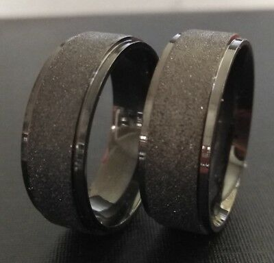 36x Men's BLACK top quality Frosted Stainless Steel Rings 8MM Band Classic Rings