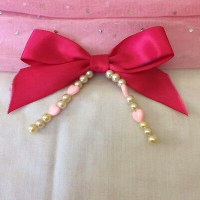 Pink Handmade Hair Bow With Beads