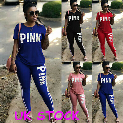 a5f7f65d859f9 UK Womens 2PCS Tracksuits Striped Sport Lounge Wear Ladies Tops Suit Plus  Size