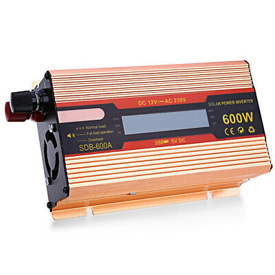 Pure Sine Wave Power Inverter 600W DC12V to AC 220V With Car Plug Cable NSW