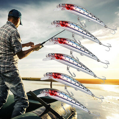 1/2/4/6x Rechargeable Twitching Fishing Lures Bait USB Recharging Cords ABS LED