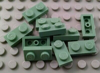 NEW Lego SAND GREEN 1X2 Plates Lot of 40 Pieces Harry Potter 3023 Bulk ALL NEW