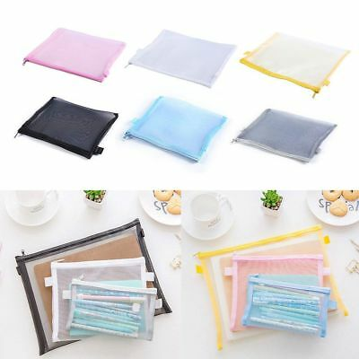 Clear Exam Pencil Case Simple Mesh Zipper Stationery Bag School Makeup Bag Pouch