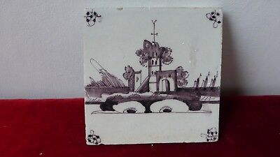 ANTIQUE DUTCH DELFT TILE. Ancien carreau carrelage Manganese Delft. XVIII......B
