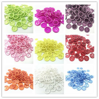 50pcs Transparent Resin Buttons Round Sewing Scrapbooking Embellishments 15mm