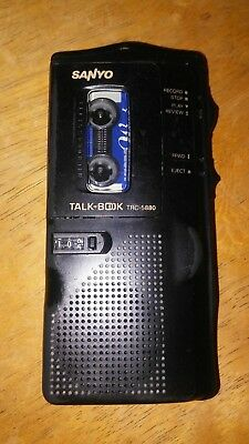 "Sanyo Micro-Cassette Recorder ""TALK BOOK"" TRC-5880 with 1 cassette tape - WORKS"
