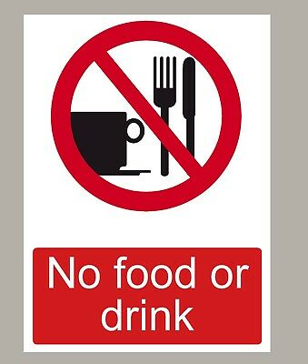 No Food Or Drink Stickers Signs X 2