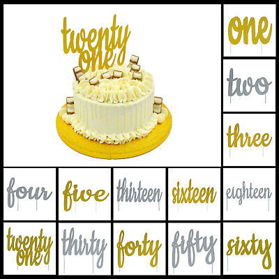 Birthday Cake Toppers Glitter Written Number Age Bling Sparkle Decoration Sign