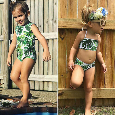 US Toddler Kids Baby Girl Tankini Bikini Set Swimwear Swimsuit Bathing Beachwear