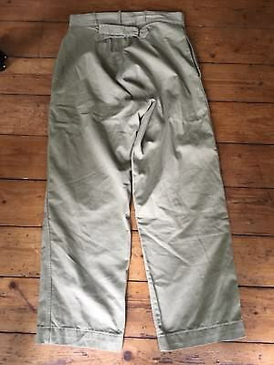 Vintage WW2 Canadian Army Chino Trousers Pants Lightning Zipper Cinch HBT