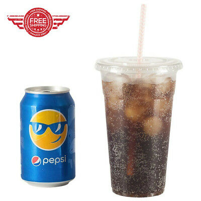 Plastic Crystal Clear Cups Flat Lids Cold Drinks 100 Sets 24 oz Iced Coffee Cups