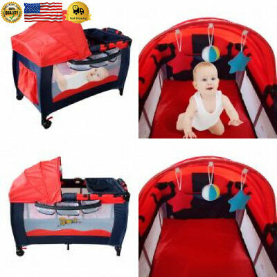 Jeobest Red Baby Travel Bed Crib Cradle Play Shades Mosquito Sleeping Tent...