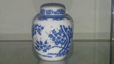 Pretty Little Antique Blue & White Prunus Blossom Lidded Ginger Pot C 1900+