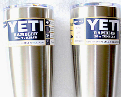 TWO YETI 20 OZ. TUMBLERS Stainless Steel - FREE SHIPPING