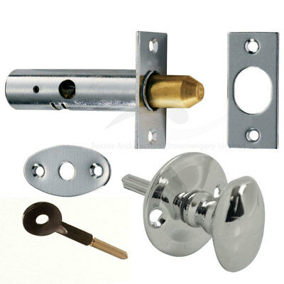 Door Rack Bolts For Added Security Chrome Finish Optional Thumb Turn or Key