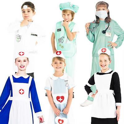 Doctors & Nurses Kids Fancy Dress Hospital ER Uniform Boys Girls Childs Costume