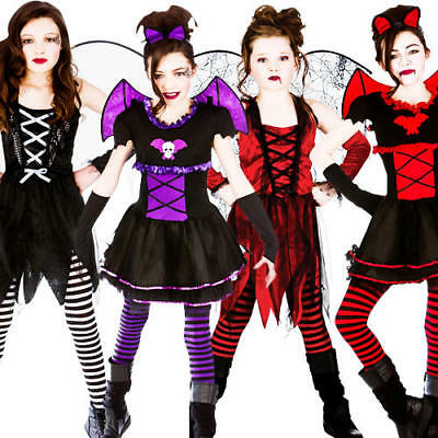 Halloween Girls Fancy Dress Up Horror Vampire Fairy Scary Kids Childrens Costume