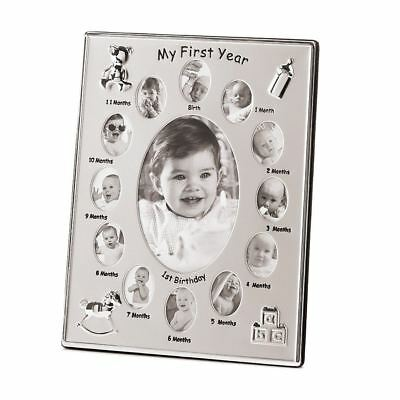 Newborn Babies My First Year Photo Picture Frame Silver Multi Photo Frame