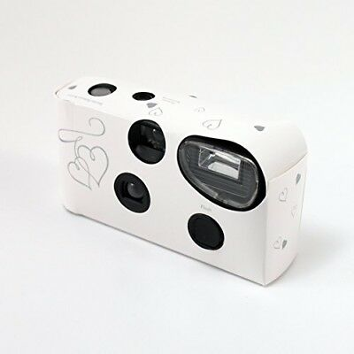 10 x Disposable Cameras with Flash White and Silver Enchanted Hearts