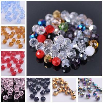 100pcs 4mm Small Round Faceted Cut Crystal Glass Loose Spacer Beads Lots