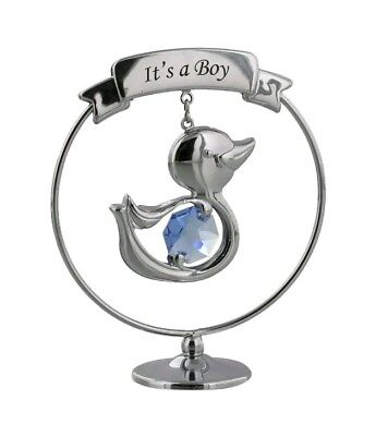 Silver Tone christening baby shower gift With Blue Crystal Duck - It's a Boy