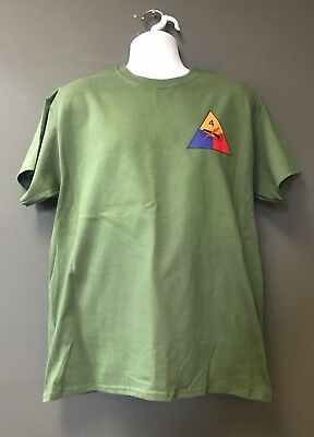 US ARMY 1ST ARMORED OLD IRONSIDES DIVISION OD Green Morale Short Slv T-Shirt