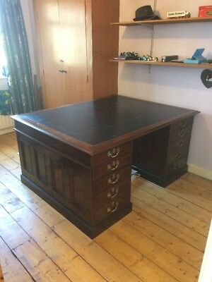 Large Leather Top Partners Desk Quality Piece - Cash On Collection Pick Up Only