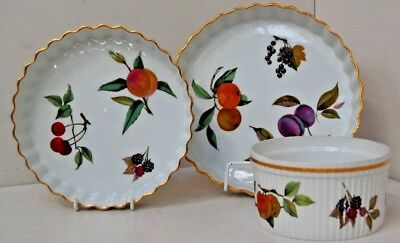 Royal Worcester Oven to Table Ware Evesham 2x flan/quiche dishes 1x souffle dish & ROYAL WORCESTER Evesham Oven to Tableware Oval Dish - £4.99 ...