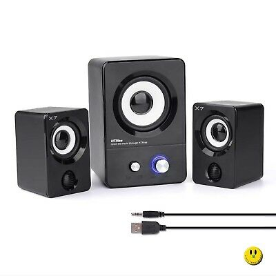 USB Powered Computer Speakers System (X7 Black) for Gaming/Music/Movies,,,