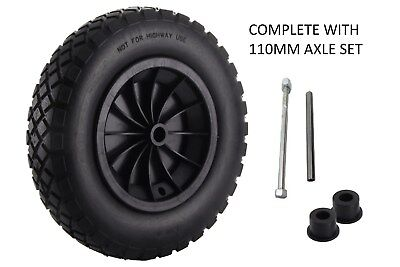 "14"" Black Pu Wheelbarrow Wheel / Puncture Proof / Solid 3.50/3.00-8 + 110Mm Axle"