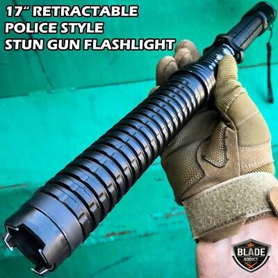 "17"" LONG Metal POLICE Stun Gun 350 Million Volt Rechargeable + LED Flashlight"